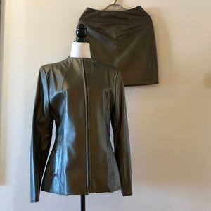 Vintage Leather Jacket and Skirt Set